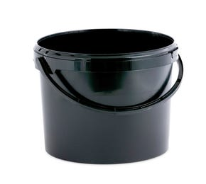 11 L Plastic Black Bucket with Plastic Handle