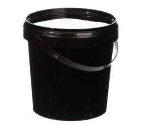 1 L Plastic Black Bucket with Lid