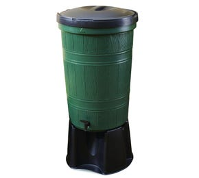 200 L Green Recycled Plastic Water Butt Kit with Lid, Rain Diverter & Stand
