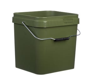 17 L Plastic Square Olive Green Bucket With Wire Handle and Lids
