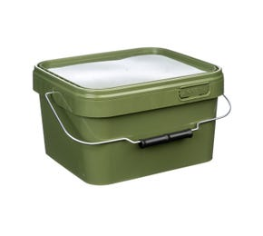 5 L Plastic Square Olive Green Bucket With Wire Handle and Lid