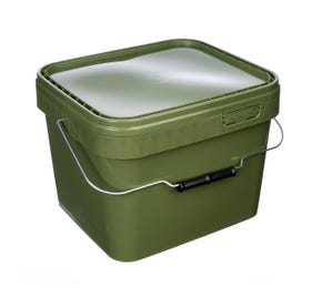 10 L Plastic Square Olive Green Bucket With Wire Handle and Lid