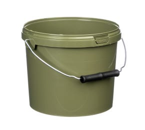 Green 3 Litre Plastic Fishing Bucket With Roller Grip Wire Handle Tamper Evident