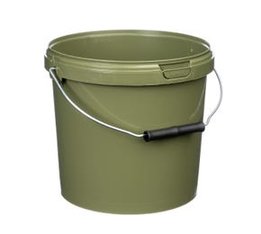 Green 5 Litre Plastic Fishing Bucket With Roller Grip Wire Handle Tamper Evident