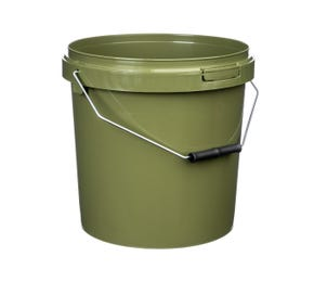 Green 10 Litre Plastic Fishing Bucket With Roller Grip Wire Handle Tamper Evident
